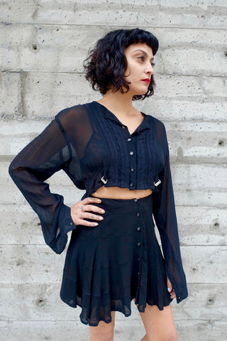1940's Black Drape Braid Embellished Dress - SOLD