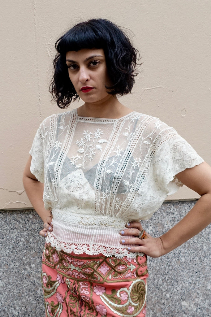 1910's Edwardian White Lace Blouse - SOLD