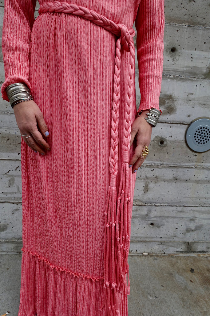 Late 70's Mary McFadden Pink Fortuny Style Gown - SOLD