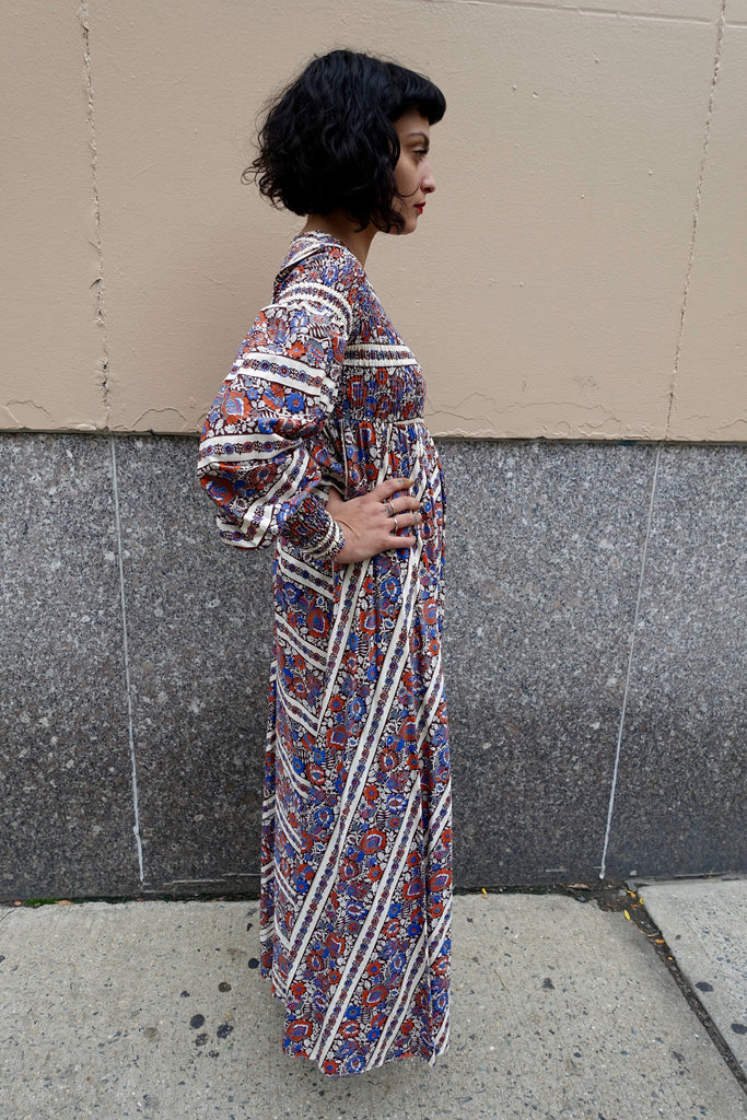 1970's Ruched Print Dress - SOLD