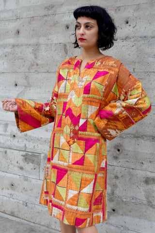 1970's Blue Batik Cheongsam Dress