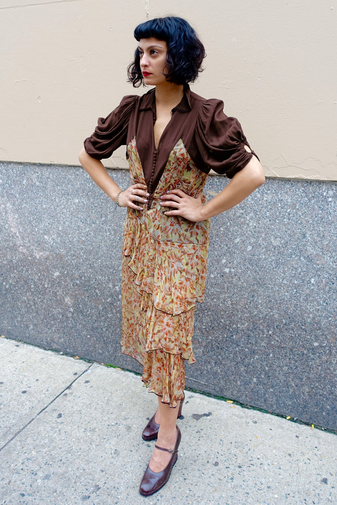 1930's-40's Brown Silk Crepe Dress - SOLD