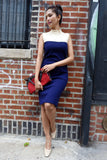 1960's Navy and White Color block Knit Dress - SOLD