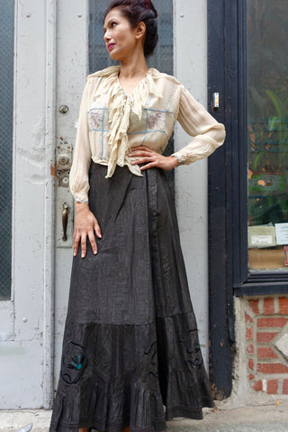 1980's-90's John Richmond Black Shirt and Skirt Set - SOLD