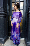 1970's-80's Purple Silk Peasant Dress