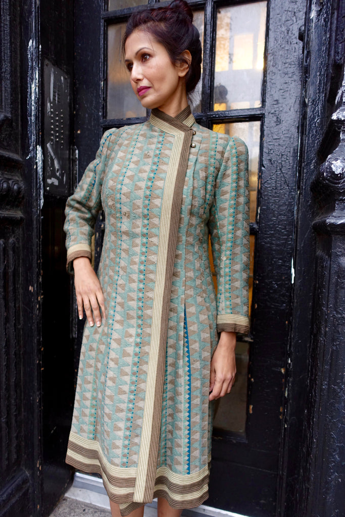 1930's-40's Green Geometric Woven Jacquard Coat - SOLD