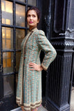 1930's-40's Green Geometric Woven Jacquard Coat