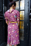 1940's Mauve Floral Rayon Dress