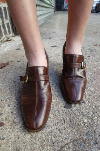 1970's Tan Leather T-Strap Heels