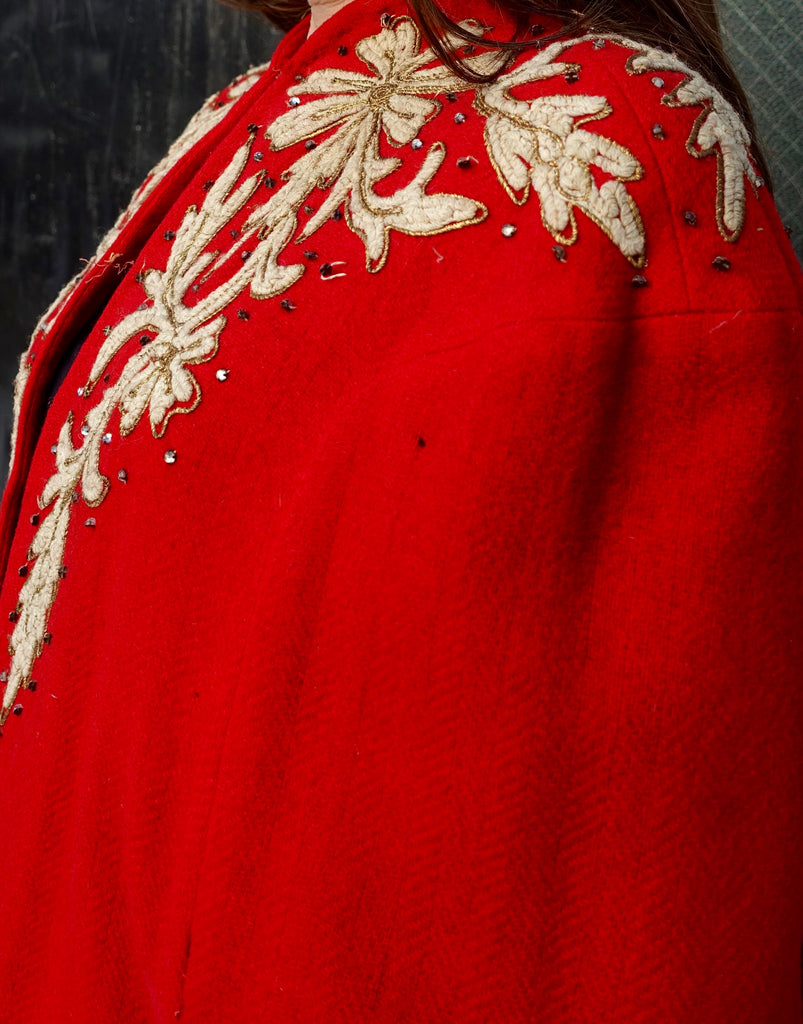 Early 1940's Red Wool Embroidered Cape
