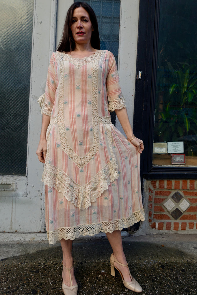 1910's Edwardian Pink Striped and Floral Dress - SOLD