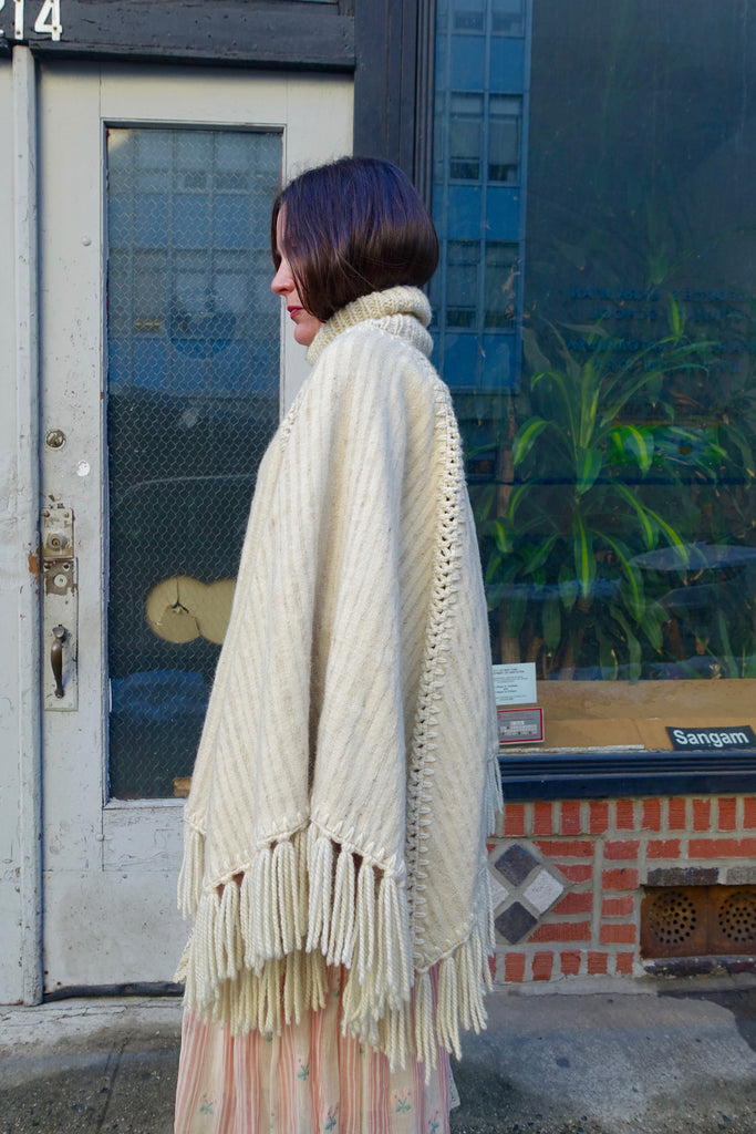 1970's Handwoven Cream Wool Turtleneck Cape