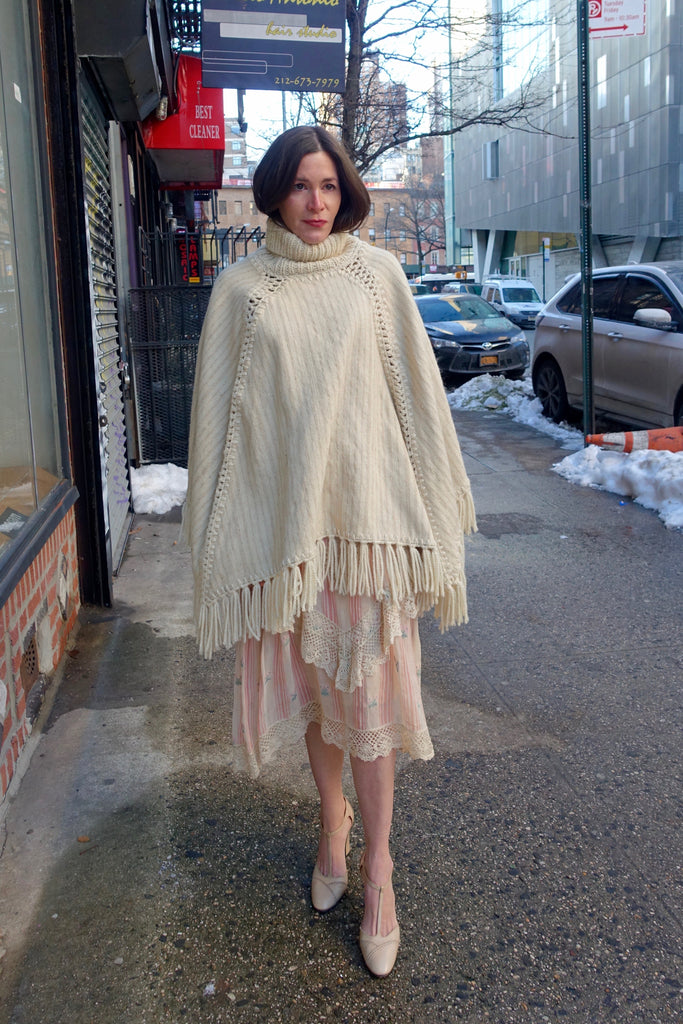 1970's Handwoven Cream Wool Turtleneck Cape - SOLD