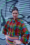 1980's Ozbek Rainbow Houndstooth Jacket -SOLD