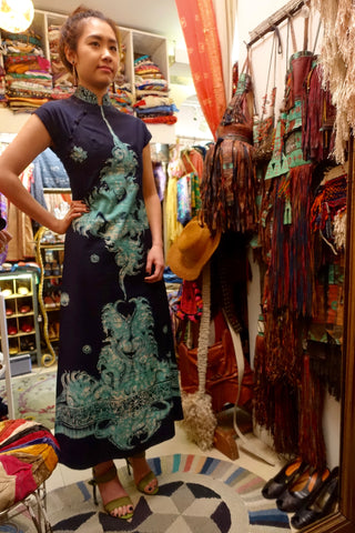 1970's Blue Batik Belted Gown - SOLD