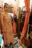 1970's Cantaloupe Woven Embroidered Dress - SOLD