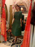 1970's Jean Muir Jewel Green Silk Crepe Dress