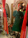 1970's Jean Muir Jewel Green Silk Crepe Dress - SOLD