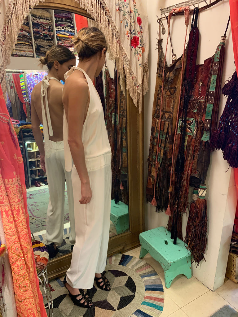 1990's White Crepe Jumpsuit