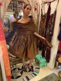 1990s-2000s Romeo Gigli Brown Metallic Silk Taffeta Cocktail Dress - SOLD
