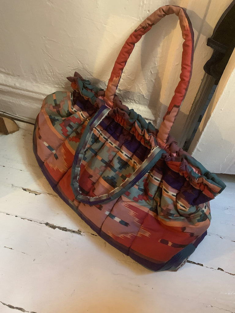 1980s Vintage Southwestern Pattern Terracotta and Blue Large Purse