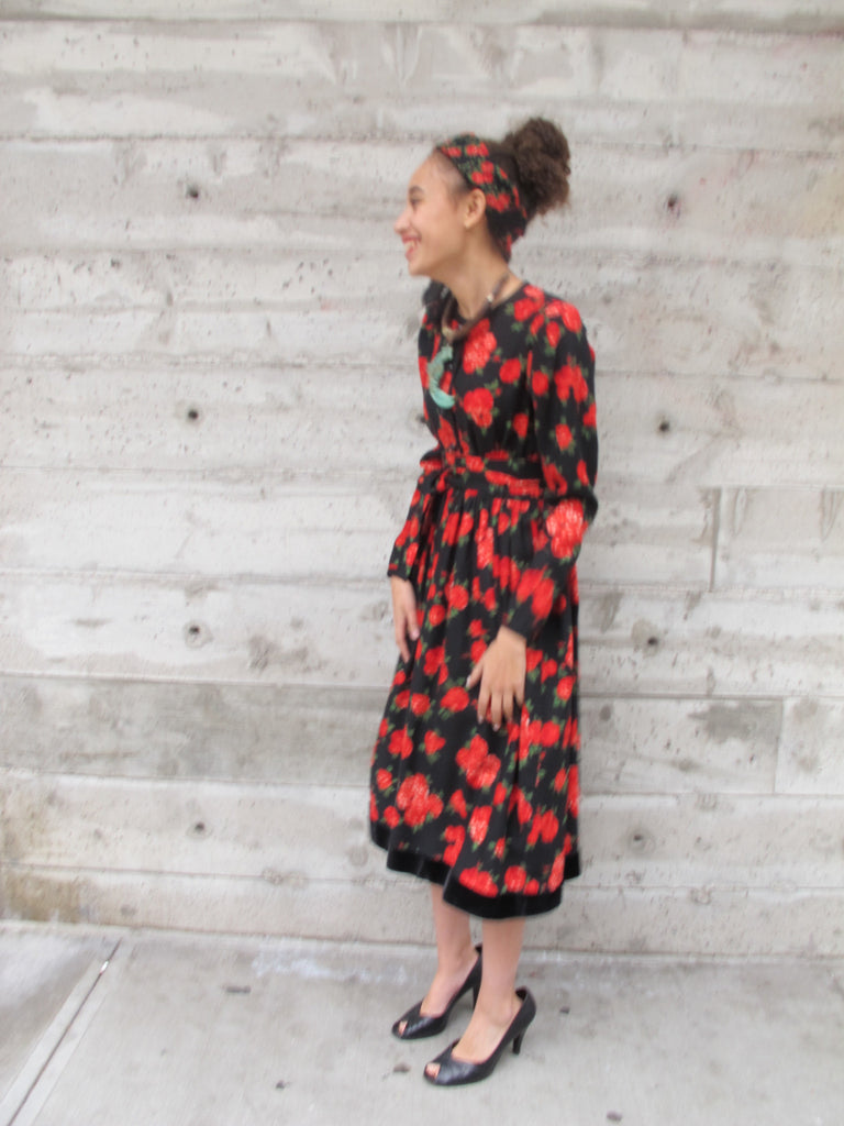 1980's Yves Saint-Laurent Belted Floral Peasant Dress with Matching Scarf - SOLD