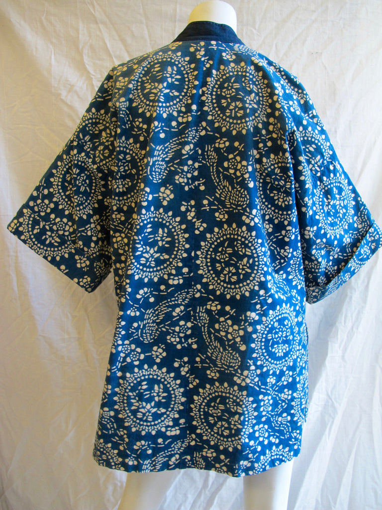 Japanese, indigo, print, cotton, blue, vintage, oversized