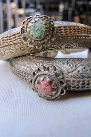 1980's Woven Copper Wire Belt With Multicolor Silk Cord Ties