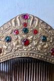 Early 20th Century Stamped Gold Hair Comb with Colored Glass Ornaments - SOLD