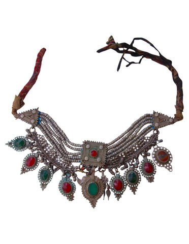Afghani Enamel and Silver Coin Choker