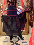 1990s-2000s Gaultier Pleated Silk Skirt with Striped Waistband
