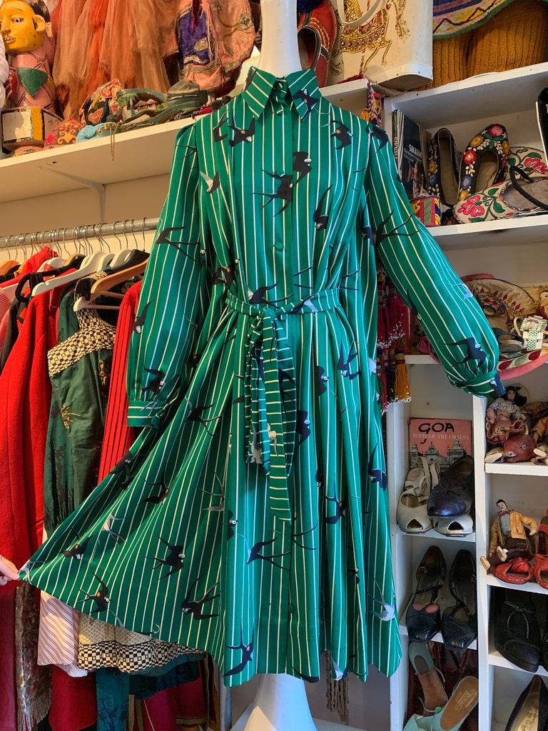 1970s Vintage Issey Miyake Green Striped Bird Print Dress