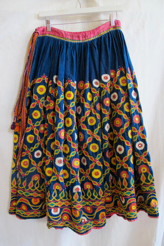 1960's Vintage South American Figural Embroidered Orange Cotton Skirt