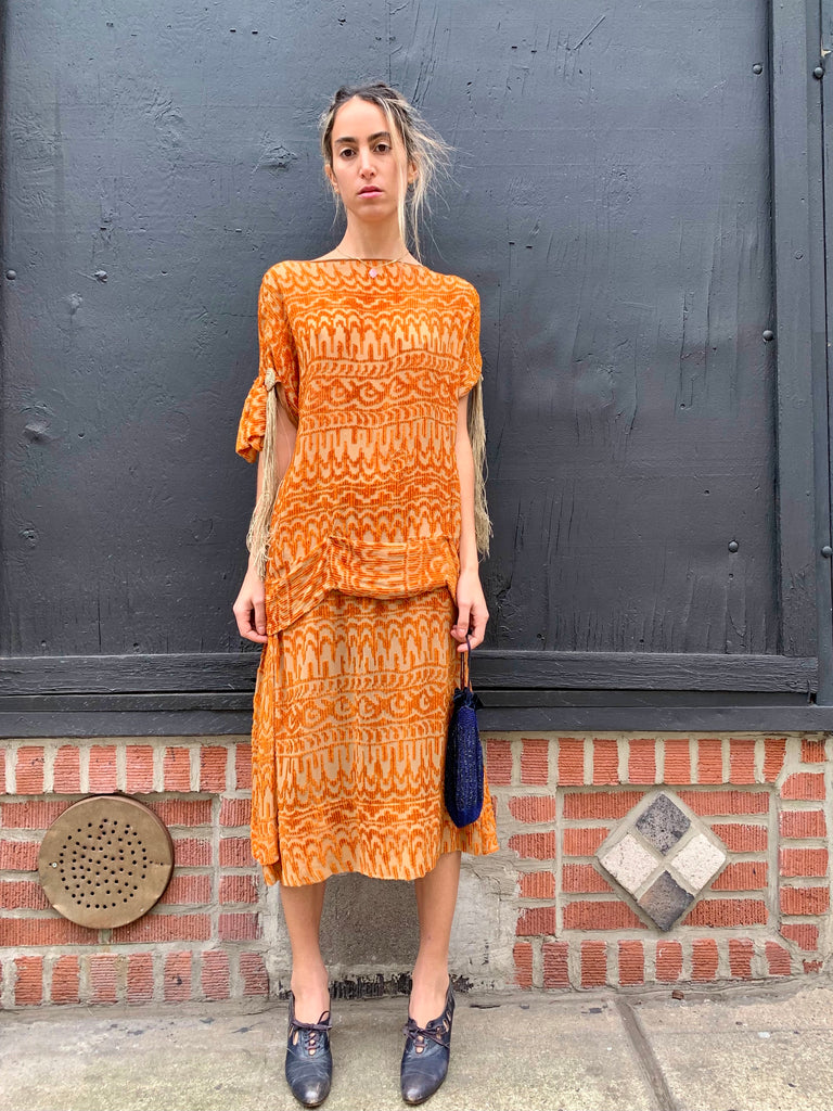 1920's Burnt Orange Velvet Silk Dress with Tassels