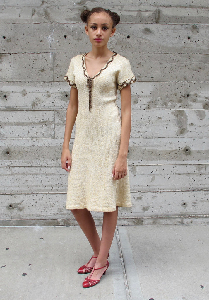 1970's Cream Knit Dress with Zig-Zag Trim