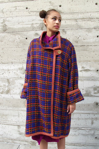 1960's Ecru Painterly Diamond Pattern Linen Coat - SOLD