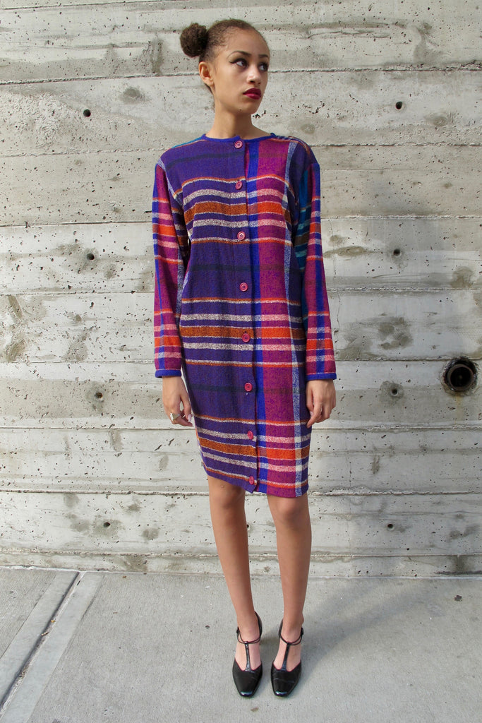 1980's Missoni Knit Purple, Pink, Green, White Plaid Dress