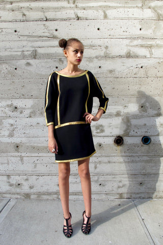 1980's Yves Saint Laurent Navy Military Dress