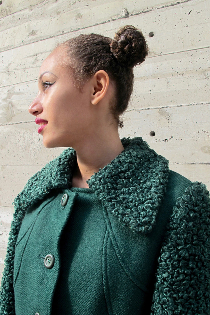 1960's Green Wool Coat with Curly Wool Sleeves and Collar - SOLD