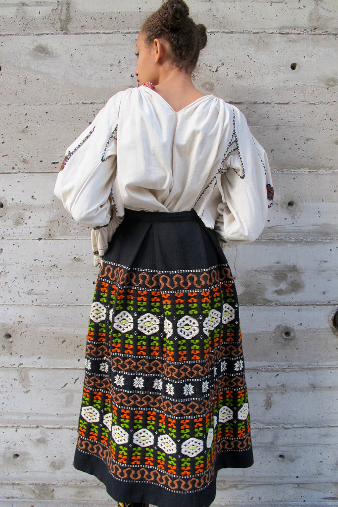 Embroidered Wool Skirt