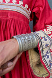 Afghani Silver Column Cuff with Latticework
