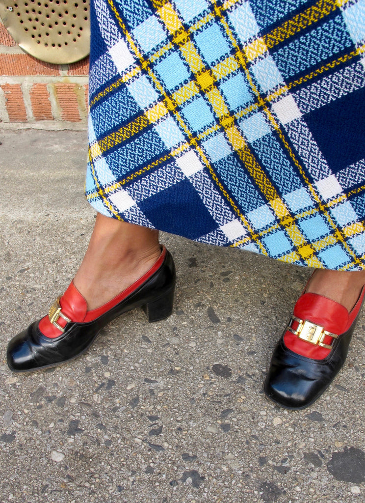 1970's Aigner Navy and Red Heeled Loafers