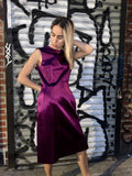 2000s Lanvin Silk Purple Sheath Dress