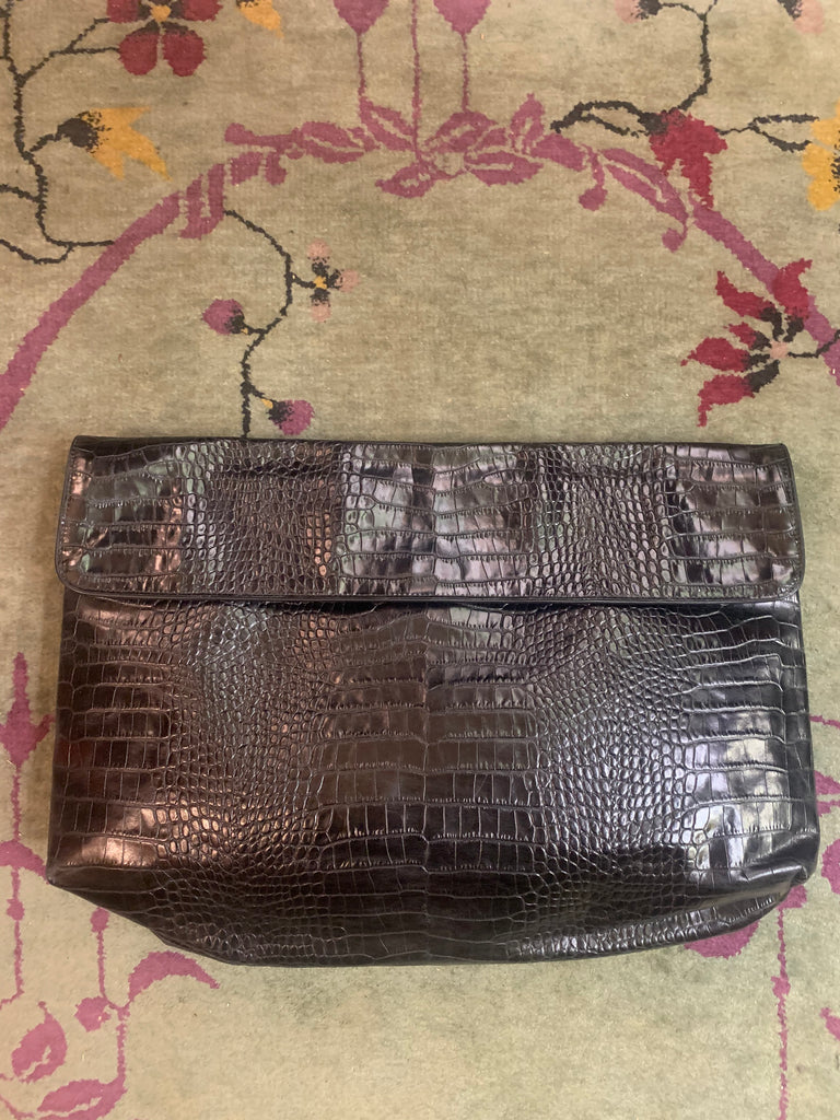 1990s-2000s Dries Van Noten Crocodile-Embossed Over-sized Clutch