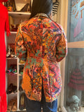 2003 Comme des Garcons Japanese Designer Tweed Blazer Jacket with Tails and Floral Psychedelic Lining