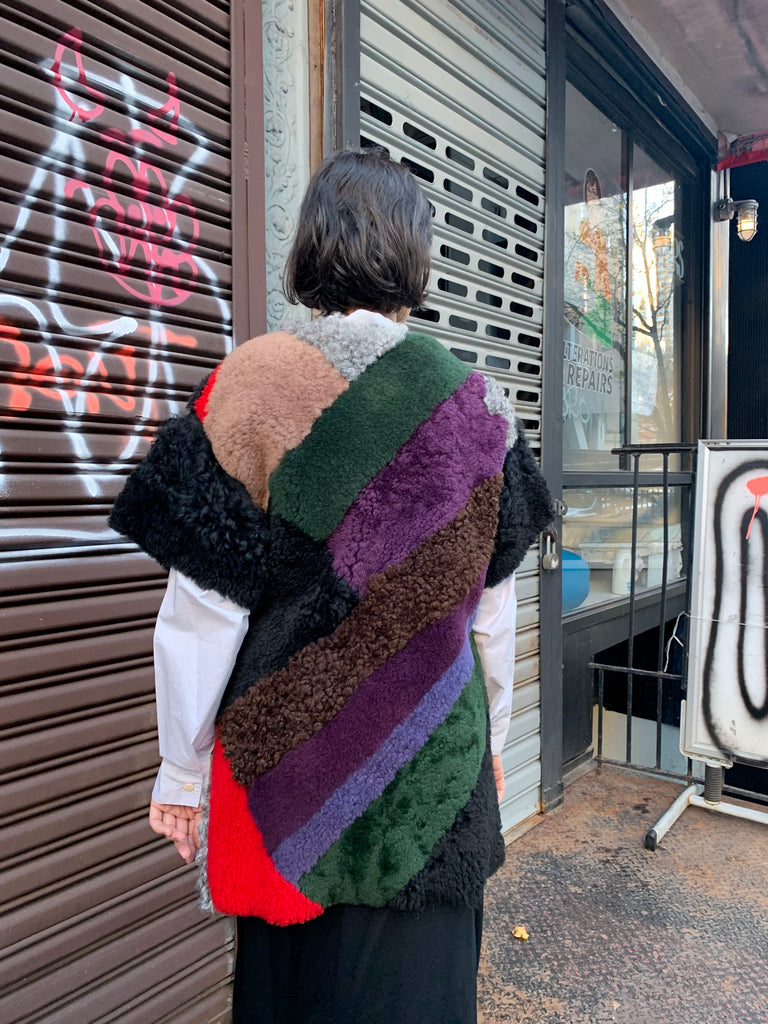 1990s-2000s Patchwork Dyed Sheepskin Vest