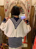 1980s Kansai Emblem Cable-knit Cardigan Sweater with Stripes