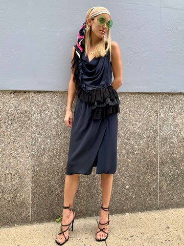 1990s-2000s Nina Ricci Blue Silk Draped Dress with Black Ribbons