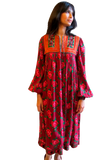 1960-70's Afghani Floral Print Dress with Patchwork Embellishment - SOLD