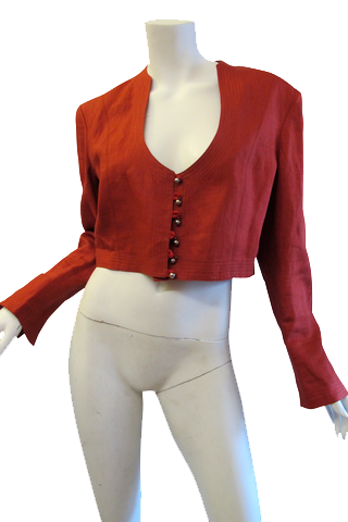 1980's Ozbek Burnt Sienna Cropped Linen Jacket